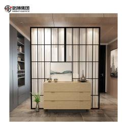 Sala de estar em aço inoxidável designs de gabinete do divisor