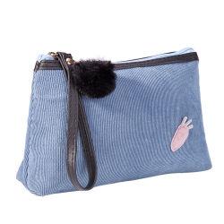 Stock carotte Carton applique cosmétiques Produits de soins de peau pochette sac de velours côtelé composent avec Pompom