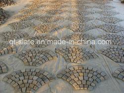 Китай многоцветные вентилятор форма доски камень на сетки, Flagstone Pavers