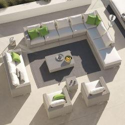 Outdoor canapé en rotin simple combinaison de table de thé sur la cour romantique de meubles en rotin Loisirs Président