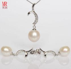 925 zilveren Jewelry Sets met Freshwater Pearls en CZ (ES1321)