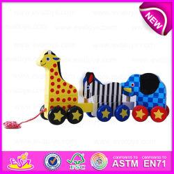 2015 Newest article promotionnel Cartoon bois Faites glisser jouet, Kids drôle style jouet de chaîne de traction animale, Cartoon Scrat tirer jouet en bois W05b076