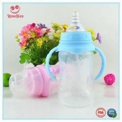 Bottiglia di alimentazione di plastica del latte del collo largo blu e dentellare con le doppie maniglie