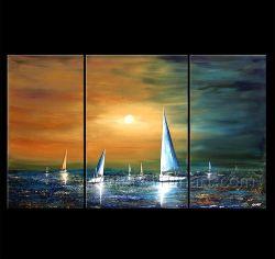 3 Painéis de lona de veleiro de Arte Moderna na paisagem pintura a óleo para decoração (LA3-138)