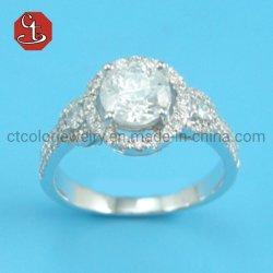 Linda hembra Gran Piedra Redonda de la moda Anillo de promesa de amor Anillo de Compromiso anillos de boda de Zirconio para mujeres
