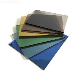 Prix de gros absorbant la chaleur des armoires de cuisine incurvée couleur bleu-vert teinté de construction en verre trempé