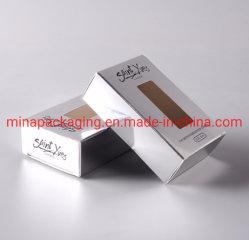 Custom logotipo impresso mais baratas 350 gramas Die Cortar Exibir Retail Marfim reciclado das embalagens de papel caixa com Limpar janela de PVC