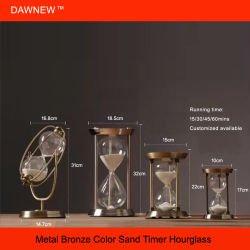 Personnaliser 30cm de sable Vintage Brass sablier Timer