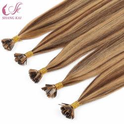 Häutchen ausgerichtetes Jungfrau-Haar-indisches Mischungs-Klavier-Farben-Keratin-vor geklebtes flaches Spitze-Haar Aliexpress