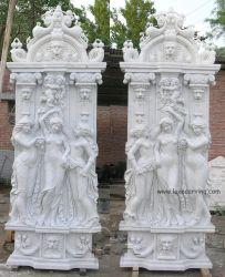 Euroentwurfs-weißen Marmordame Carved Column Pillar für Haus-Garten