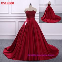 La princesse rouge robes de bal officiel corsage Sweetheart Backless robe de mariée de longueur de plancher