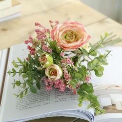 Heiße Verkaufs-künstliche Blumen-Blumenstrauss-Dekorationen, die Innenministerium-dekorativen Silk Plastikblumen-Blumenstrauß Wedding sind