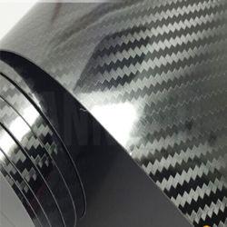 Preto Brilhante 5D Carro de fibra de carbono de película de Vinil da cintagem por rede