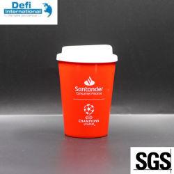 Doppel-wandige pp.-mehrfachverwendbare Plastikkaffeetasse mit Deckel