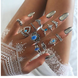 13pcs Mujer Blue Crystal Turtle Finger Rings Knuckle Midi Ring Sets Boho Jewelry