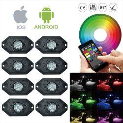 Commerce de gros 8PCS Voiture Rock 4X4 Lampe LED RVB de contrôle de la musique Bluetooth Toyota pièces Rock lumière à LED