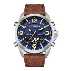 Uhr-Quarz-Digital-Geschenk-Sport-Uhr-Doppelzeit-Chronograph-Qualitätswasserdichte Uhr-Plastikuhr