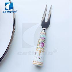 Manípulo de cerâmica da flora de alta qualidade em aço inoxidável 18/0 Garfo de carne para o Hotel