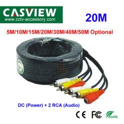 20m de tout-en-un et l'alimentation DC audio RCA Câble de rallonge d'accessoires de vidéosurveillance