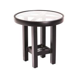耐久性に優れた軽量アルミニウム製ラウンドエンドテーブル(透明ガラストップ付き)