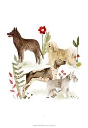 ديكور منزلي رسم زيتية للحيوانات أربعة كلاب