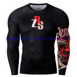 La marca de alta calidad Gimnasio Hombres camiseta hombres impresos en 3D divertido Rash Guard Manga Larga Camisetas de secado rápido Wholesale