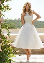 Tee-Länge eine Zeile Brautabend-Kleid-blosse Spitze zwei in einem Hochzeits-Kleid