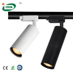 هيكل داخلي قابل للضبط من الألومنيوم أبيض أسود طور 3 مصباح LED لسقف القضيب اللزج
