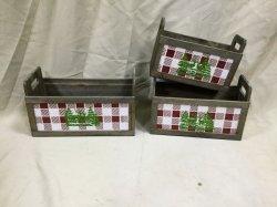 Arbre de Noël en bois - grille de boîte en bois à motifs avec des poignées