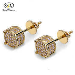 Or 14K Diamond Earring le goujon du hip-hop Mode bijoux
