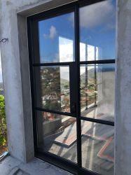 Gran tubo de hierro de acero puerta francesa con doble vidrio panel Puertas de hierro forjado