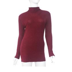 Diseño de nervaduras de alta calidad de la primavera y otoño señoras Jersey de punto la mujer de manga larga de tejido de la mitad de altura suéter de cuello de servicio de OEM