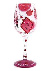Etiquetas informativas e pintura manual Wineset- Vinho Tinto de vidro (07A VW02)