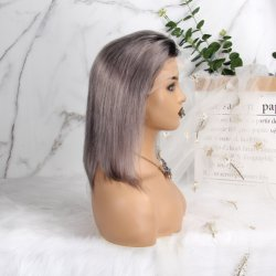 Remy Menschenhaar-Elf-lockige Art-maschinell hergestellte kurze Perücken für Frauen-Farbe Dx1b/33/30 geben Verschiffen frei