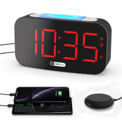 초고음량 귀머거리 알람 시계 쉐이크 진동기 USB 전화 충전 시계 7 색상 변경 LED 알람 시계 디지털
