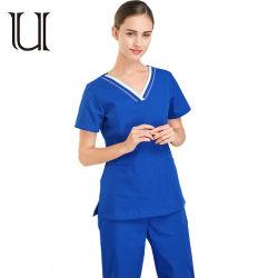 Le donne frega le uniformi mediche del V-Collo di Short dei manicotti della camicia di colore di blocchetto di disegno della STAZIONE TERMALE di salute del costume superiore del Workwear