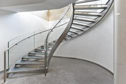 屋外 / 屋内用モダンデザインステンレススチールカーブド階段 / 住宅用スチール階段 / カーブドガラス 階段 / らせん階段