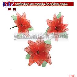 Fontes de terceiros Decoração enfeites cintilantes Poinsettia ornamentos de Natal (P4084)