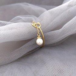 14K or 18K de la chaîne légère personnalisé Bague avec Pearl Mode bijoux