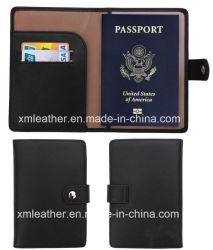 Bolsa de viagem do titular do passaporte de couro para homens e mulheres