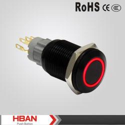 19mmのリングによって照らされるIP67保護レベルの黒の金属スイッチ