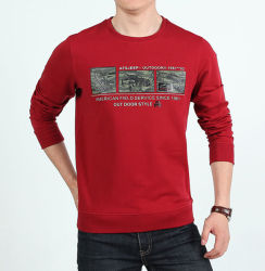 Design de moda de algodão impressão homens T Shirt gola redonda mangas longas agasalho