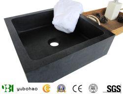 浴室のための自然な黒い正方形の石の洗面器または溶岩の洗面器