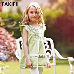2020 Commerce de gros bébé/enfants/vêtement pour bébé fille vert broderie Shirt