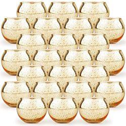 Round Gold Vela Votiva titulares, Conjunto de 24 Mercúrio Tealight Vidro titulares de vela, Chá suporte para velas Granel com salpicados para centro de Mesa, Wedding Decorati