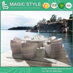 Juego de comedor de mimbre del patio de tejido Rattan Silla de Comedor Jardín mesa de comedor con muebles de exterior vidrio cerámico café modernas muebles