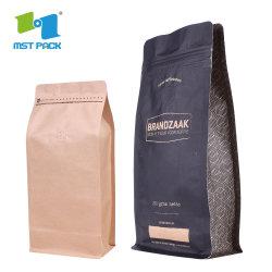 생분해성 도매 사용자 지정 로고 인쇄 소매 플라스틱 호일 라이닝 지퍼 인스턴트 커피 포장 종이 가방