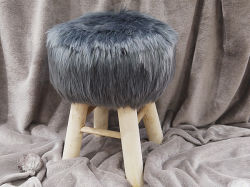 Muebles de Salón Faux Fur / Otomano puf con las piernas de madera la materia fecal (YFO002)