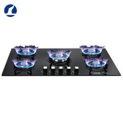 verre trempé de haute qualité Noir construit en 5 brûleurs cuisinière au gaz