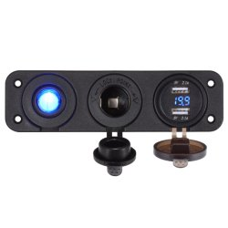 デュアル USB ソケット充電器 2.1A および 2.1A + LED 電圧計 + タバコ より軽量